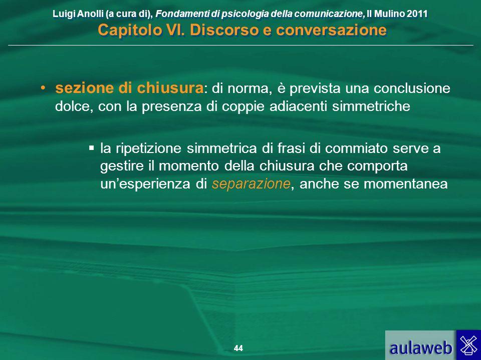 Luigi Anolli (a cura di), Fondamenti di psicologia della comunicazione, Il Mulino 2011 Capitolo VI. Discorso e conversazione 44 sezione di chiusura :