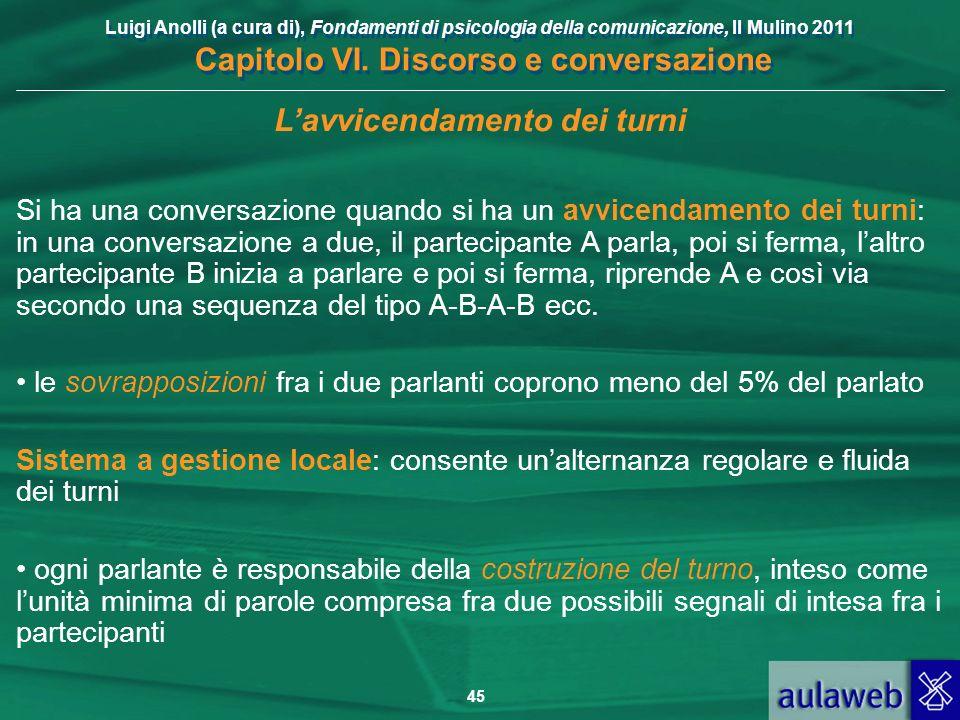 Luigi Anolli (a cura di), Fondamenti di psicologia della comunicazione, Il Mulino 2011 Capitolo VI. Discorso e conversazione 45 Lavvicendamento dei tu