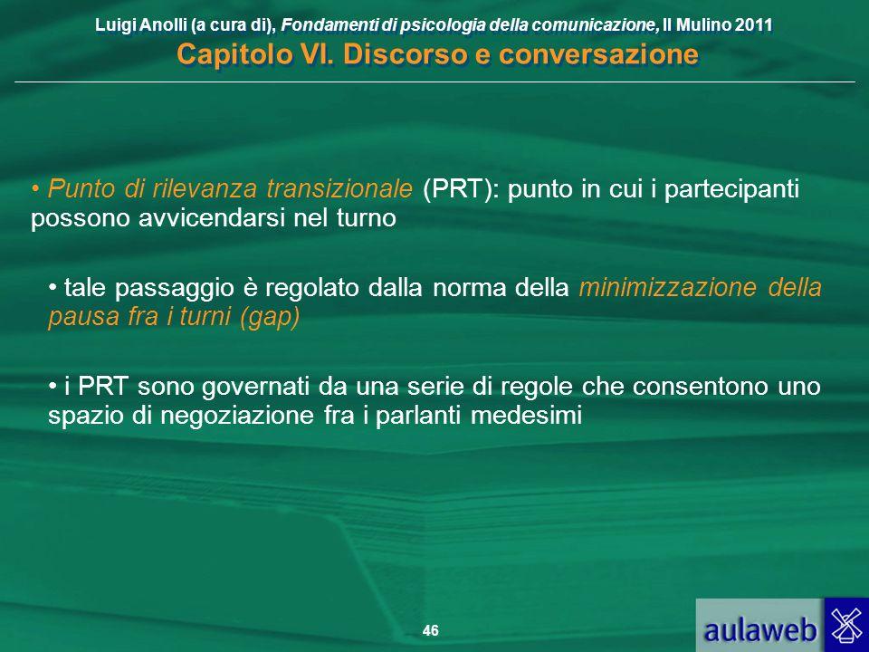Luigi Anolli (a cura di), Fondamenti di psicologia della comunicazione, Il Mulino 2011 Capitolo VI. Discorso e conversazione 46 Punto di rilevanza tra