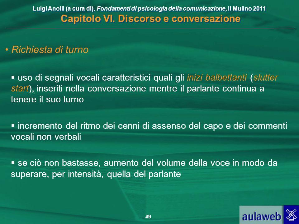 Luigi Anolli (a cura di), Fondamenti di psicologia della comunicazione, Il Mulino 2011 Capitolo VI. Discorso e conversazione 49 Richiesta di turno uso