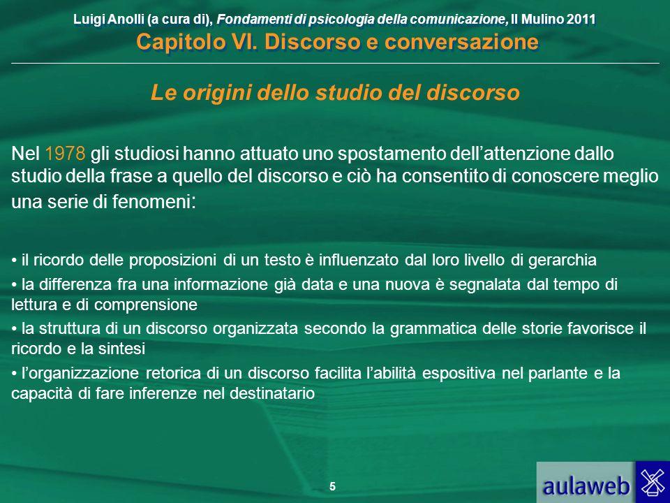 Luigi Anolli (a cura di), Fondamenti di psicologia della comunicazione, Il Mulino 2011 Capitolo VI. Discorso e conversazione 5 Le origini dello studio