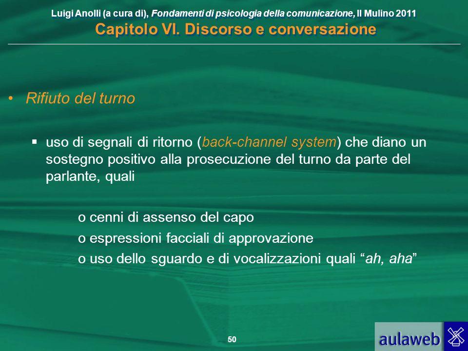 Luigi Anolli (a cura di), Fondamenti di psicologia della comunicazione, Il Mulino 2011 Capitolo VI. Discorso e conversazione 50 Rifiuto del turno uso