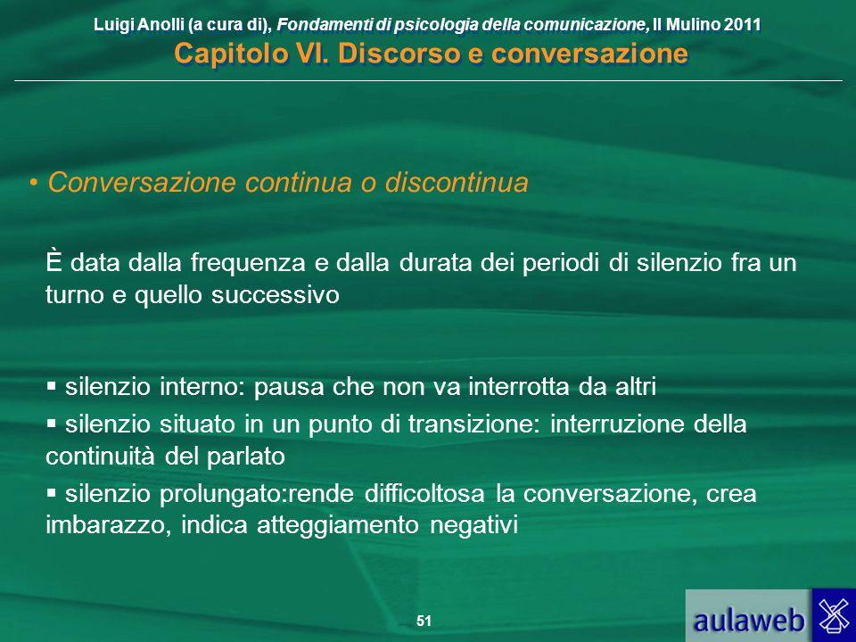Luigi Anolli (a cura di), Fondamenti di psicologia della comunicazione, Il Mulino 2011 Capitolo VI. Discorso e conversazione 51 Conversazione continua