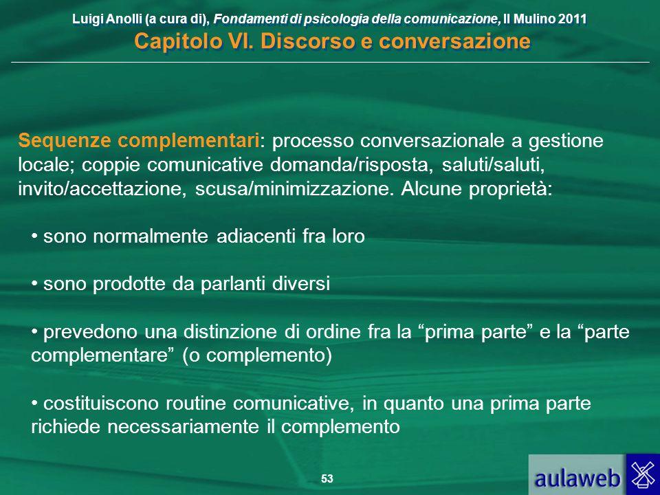 Luigi Anolli (a cura di), Fondamenti di psicologia della comunicazione, Il Mulino 2011 Capitolo VI. Discorso e conversazione 53 Sequenze complementari