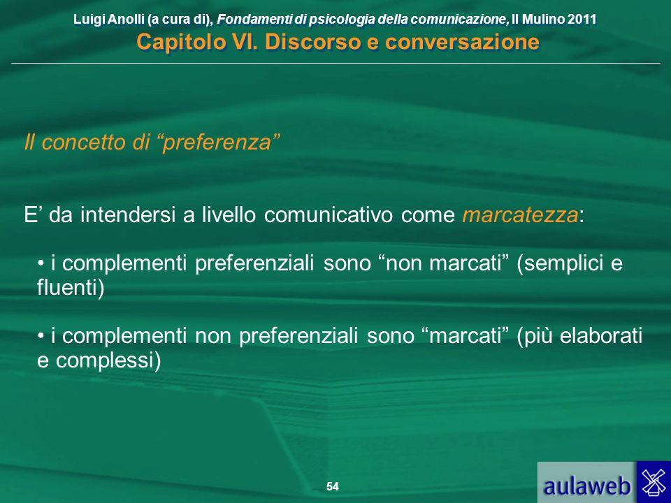 Luigi Anolli (a cura di), Fondamenti di psicologia della comunicazione, Il Mulino 2011 Capitolo VI. Discorso e conversazione 54 Il concetto di prefere