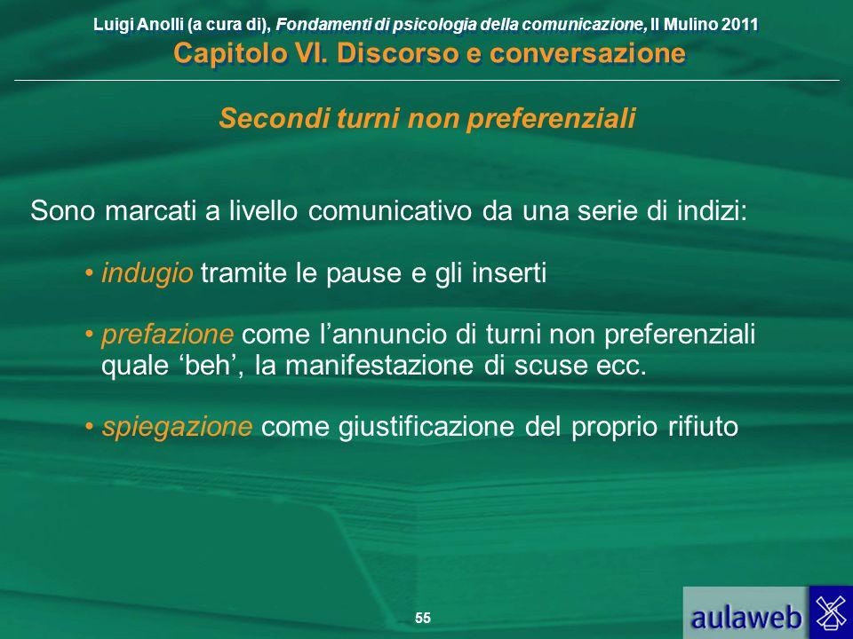 Luigi Anolli (a cura di), Fondamenti di psicologia della comunicazione, Il Mulino 2011 Capitolo VI. Discorso e conversazione 55 Secondi turni non pref