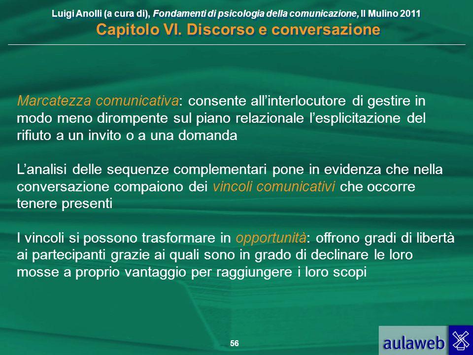 Luigi Anolli (a cura di), Fondamenti di psicologia della comunicazione, Il Mulino 2011 Capitolo VI. Discorso e conversazione 56 Marcatezza comunicativ