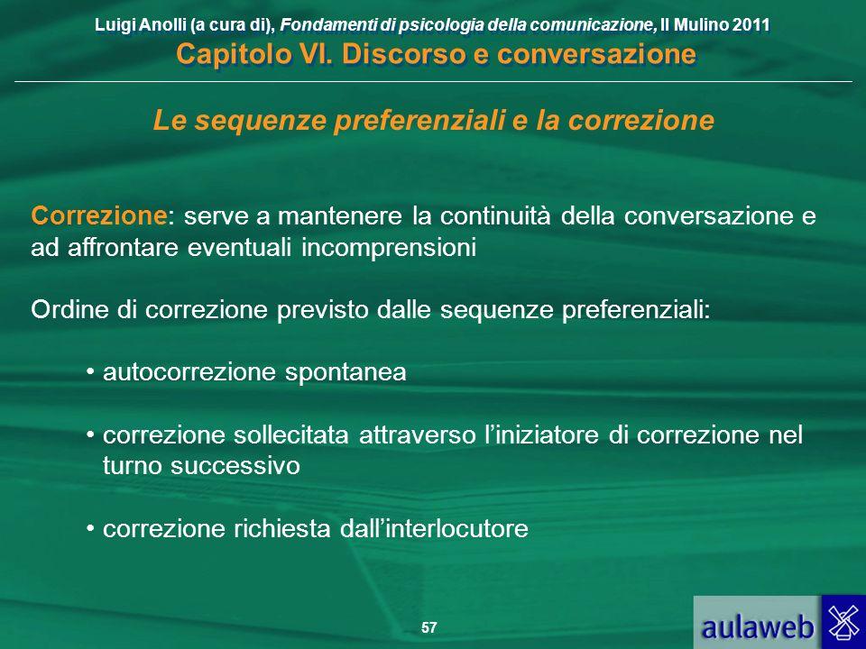 Luigi Anolli (a cura di), Fondamenti di psicologia della comunicazione, Il Mulino 2011 Capitolo VI. Discorso e conversazione 57 Le sequenze preferenzi