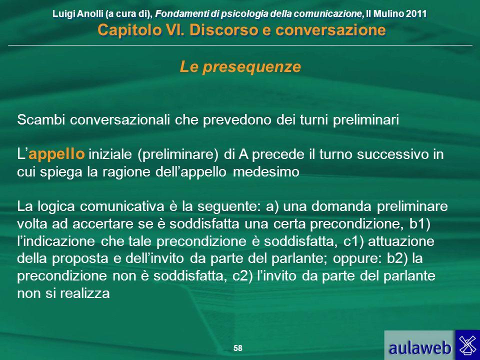 Luigi Anolli (a cura di), Fondamenti di psicologia della comunicazione, Il Mulino 2011 Capitolo VI. Discorso e conversazione 58 Le presequenze Scambi