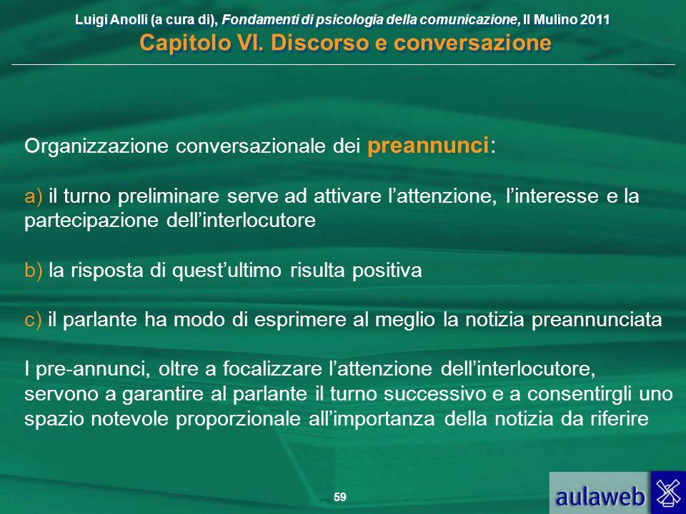Luigi Anolli (a cura di), Fondamenti di psicologia della comunicazione, Il Mulino 2011 Capitolo VI. Discorso e conversazione 59 Organizzazione convers