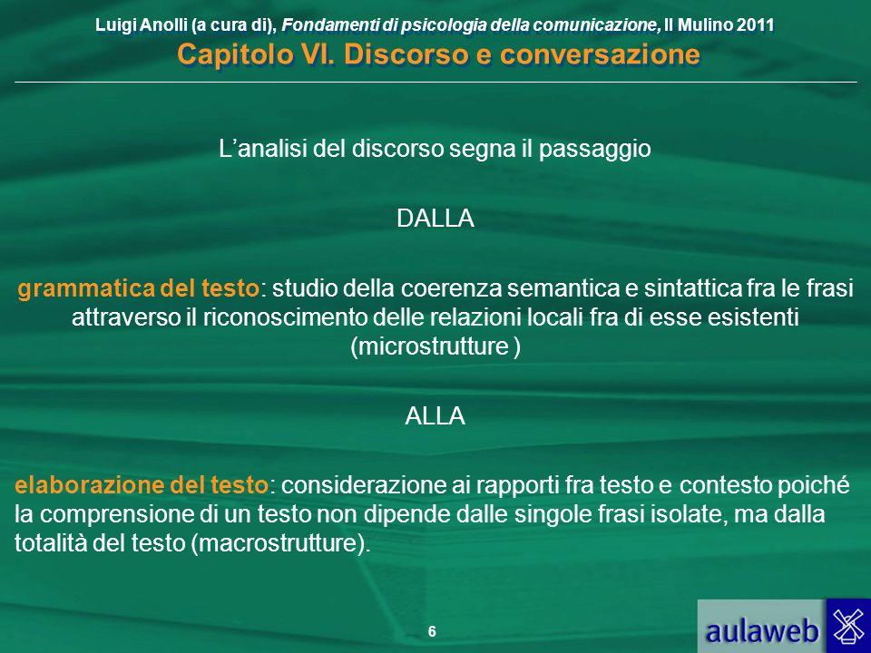 Luigi Anolli (a cura di), Fondamenti di psicologia della comunicazione, Il Mulino 2011 Capitolo VI. Discorso e conversazione 6 Lanalisi del discorso s