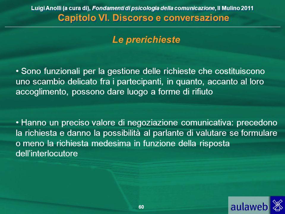 Luigi Anolli (a cura di), Fondamenti di psicologia della comunicazione, Il Mulino 2011 Capitolo VI. Discorso e conversazione 60 Le prerichieste Sono f