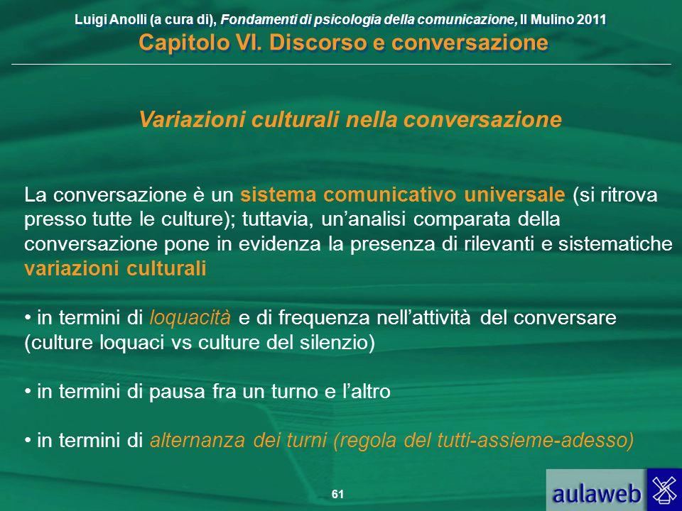 Luigi Anolli (a cura di), Fondamenti di psicologia della comunicazione, Il Mulino 2011 Capitolo VI. Discorso e conversazione 61 Variazioni culturali n