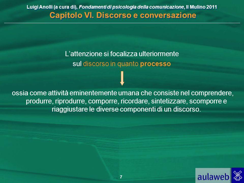 Luigi Anolli (a cura di), Fondamenti di psicologia della comunicazione, Il Mulino 2011 Capitolo VI. Discorso e conversazione 7 Lattenzione si focalizz