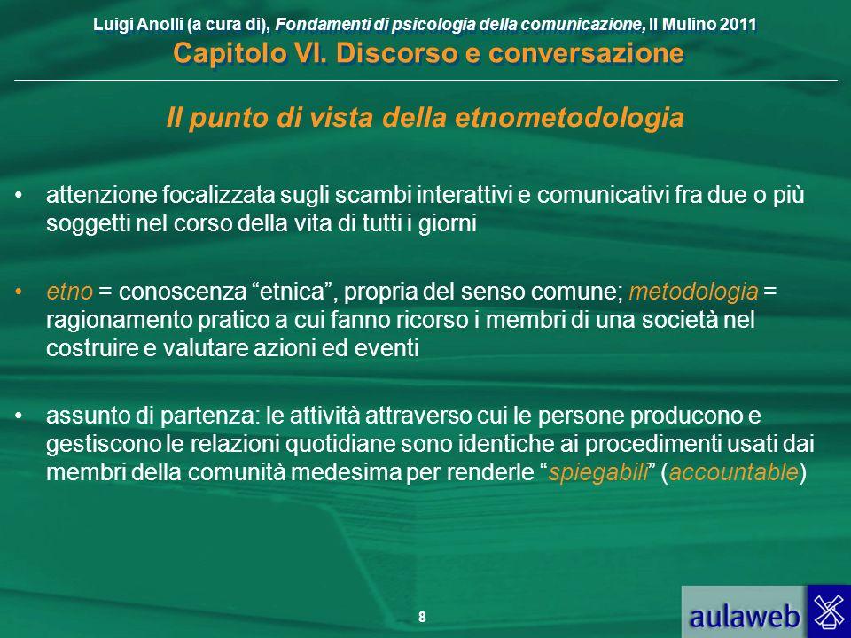 Luigi Anolli (a cura di), Fondamenti di psicologia della comunicazione, Il Mulino 2011 Capitolo VI. Discorso e conversazione 8 Il punto di vista della