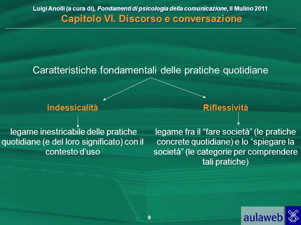Luigi Anolli (a cura di), Fondamenti di psicologia della comunicazione, Il Mulino 2011 Capitolo VI. Discorso e conversazione 9 Caratteristiche fondame