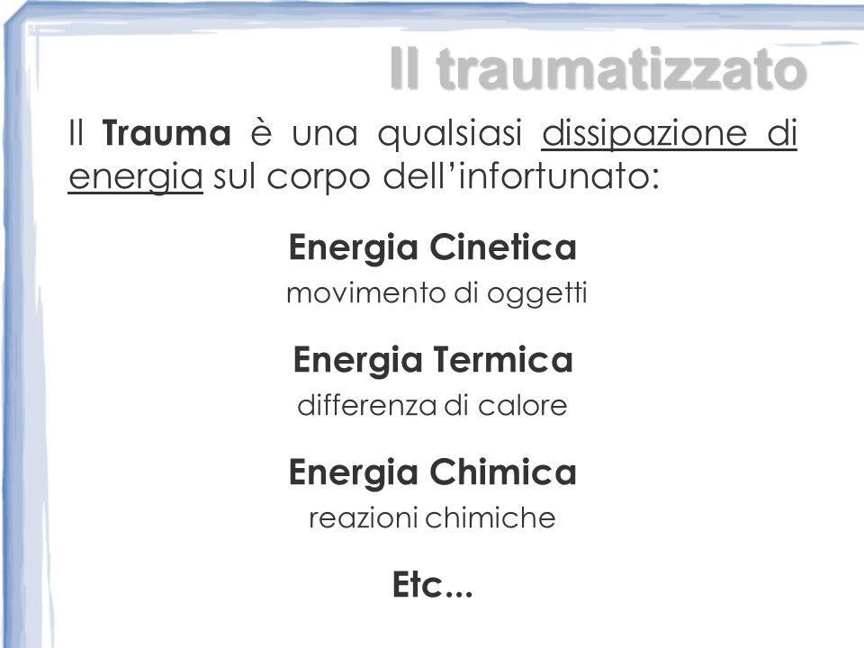 Il traumatizzato Il Trauma è una qualsiasi dissipazione di energia sul corpo dellinfortunato: Energia Cinetica movimento di oggetti Energia Termica differenza di calore Energia Chimica reazioni chimiche Etc...
