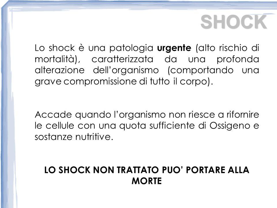 SHOCK Lo shock è una patologia urgente (alto rischio di mortalità), caratterizzata da una profonda alterazione dellorganismo (comportando una grave compromissione di tutto il corpo).