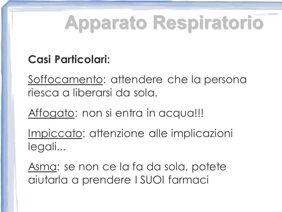 Apparato Respiratorio Casi Particolari: Soffocamento: attendere che la persona riesca a liberarsi da sola.