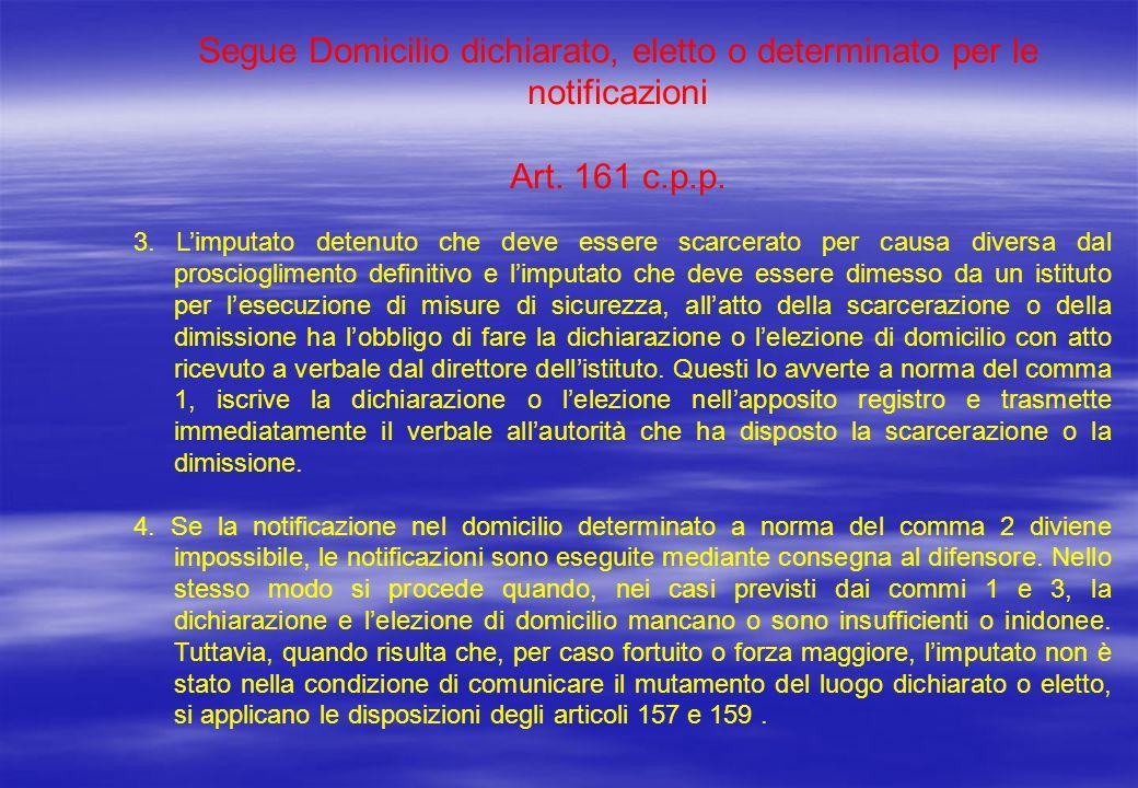 Segue Domicilio dichiarato, eletto o determinato per le notificazioni Art. 161 c.p.p. 3. Limputato detenuto che deve essere scarcerato per causa diver
