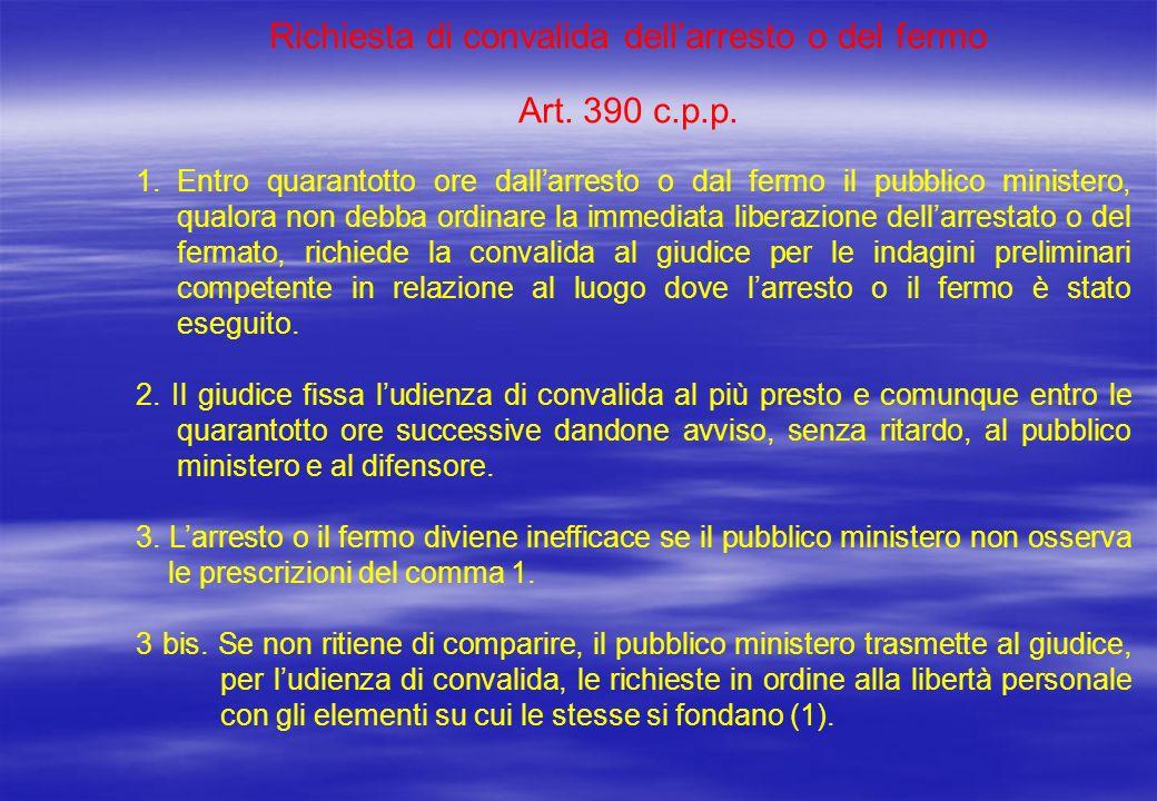 Richiesta di convalida dellarresto o del fermo Art. 390 c.p.p. 1.Entro quarantotto ore dallarresto o dal fermo il pubblico ministero, qualora non debb