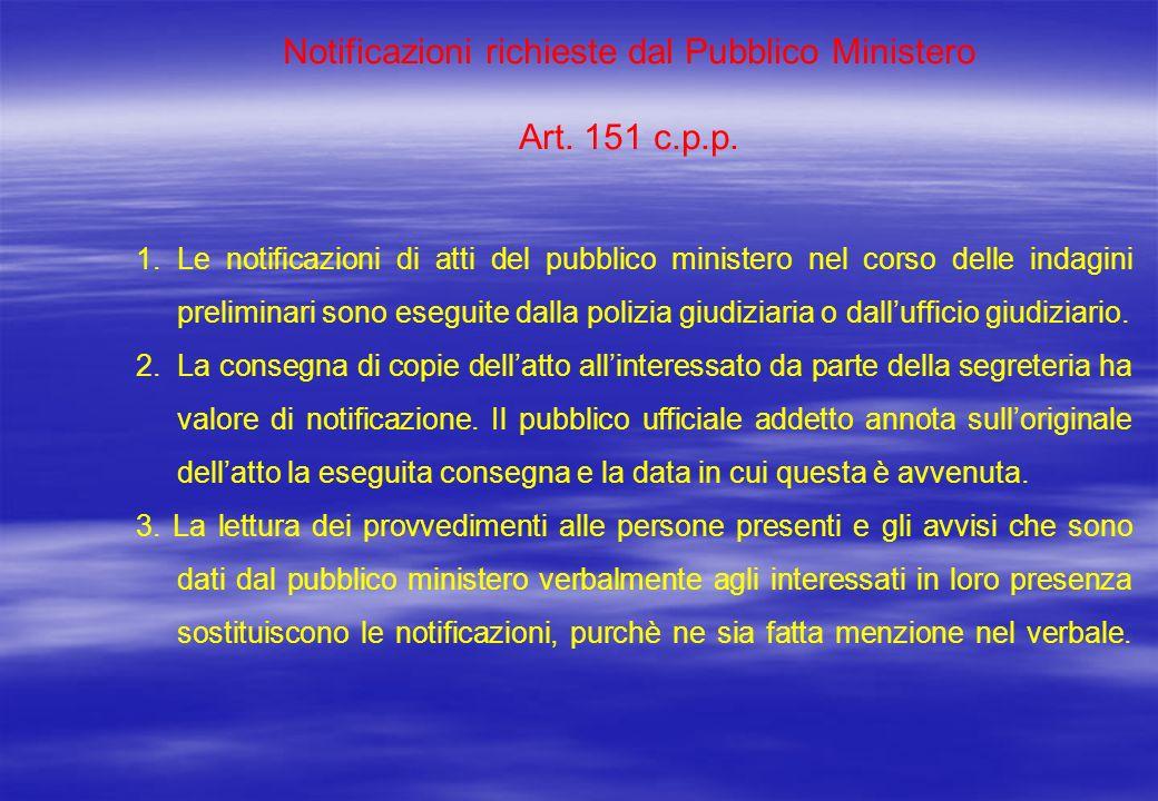 Notificazioni richieste dal Pubblico Ministero Art. 151 c.p.p. 1. Le notificazioni di atti del pubblico ministero nel corso delle indagini preliminari