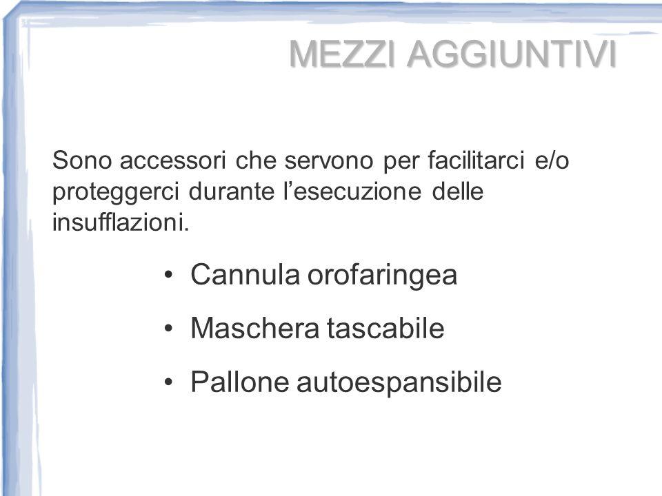 MEZZI AGGIUNTIVI Cannula orofaringea Maschera tascabile Pallone autoespansibile Sono accessori che servono per facilitarci e/o proteggerci durante les