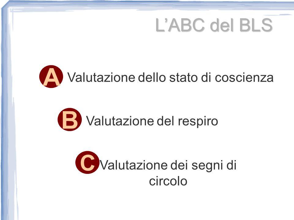 LABC del BLS A B C Valutazione dello stato di coscienza Valutazione del respiro Valutazione dei segni di circolo