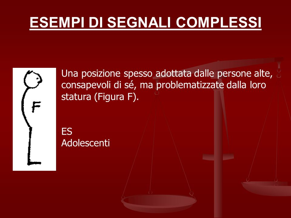 ESEMPI DI SEGNALI COMPLESSI Una posizione spesso adottata dalle persone alte, consapevoli di sé, ma problematizzate dalla loro statura (Figura F). ES