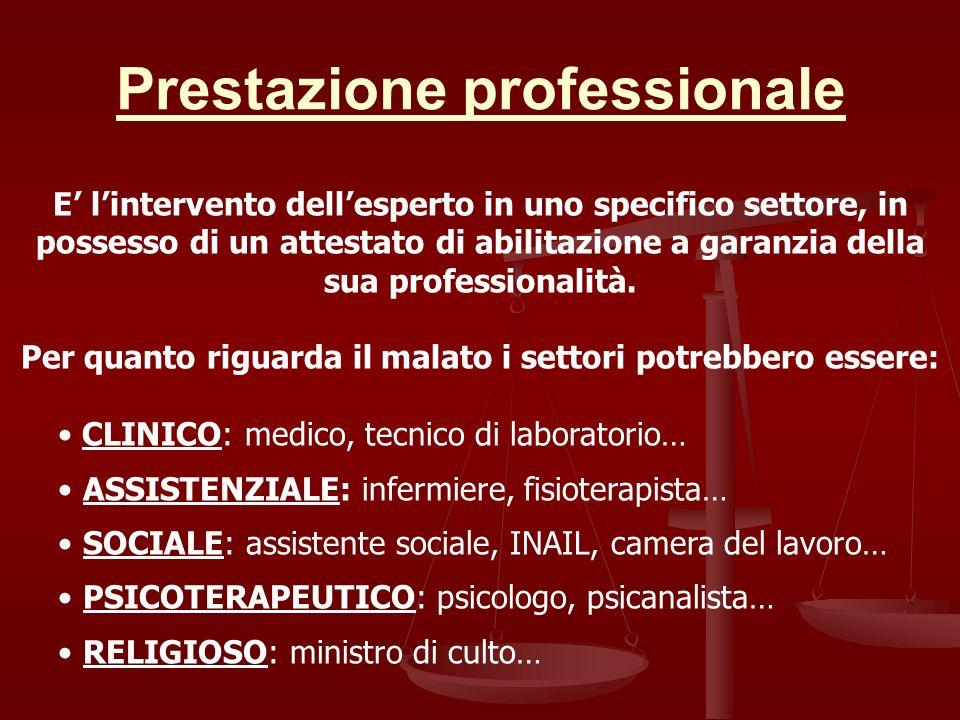 Prestazione professionale E lintervento dellesperto in uno specifico settore, in possesso di un attestato di abilitazione a garanzia della sua profess