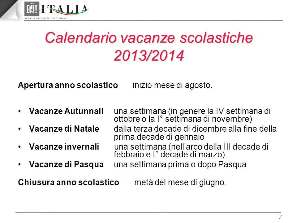7 Calendario vacanze scolastiche 2013/2014 Apertura anno scolastico inizio mese di agosto. Vacanze Autunnali una settimana (in genere la IV settimana