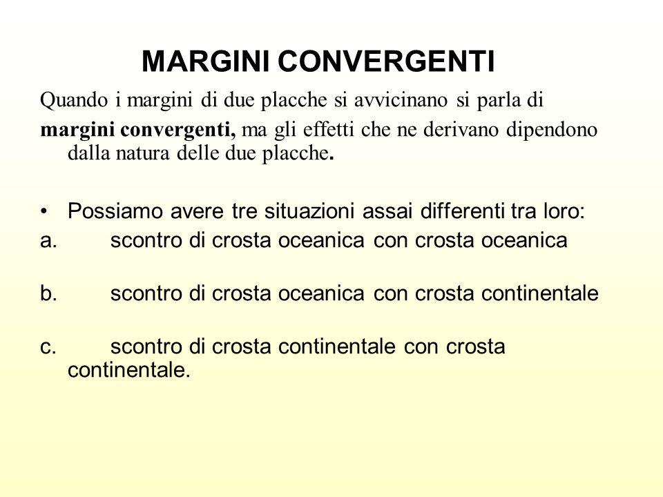 Quando i margini di due placche si avvicinano si parla di margini convergenti, ma gli effetti che ne derivano dipendono dalla natura delle due placche