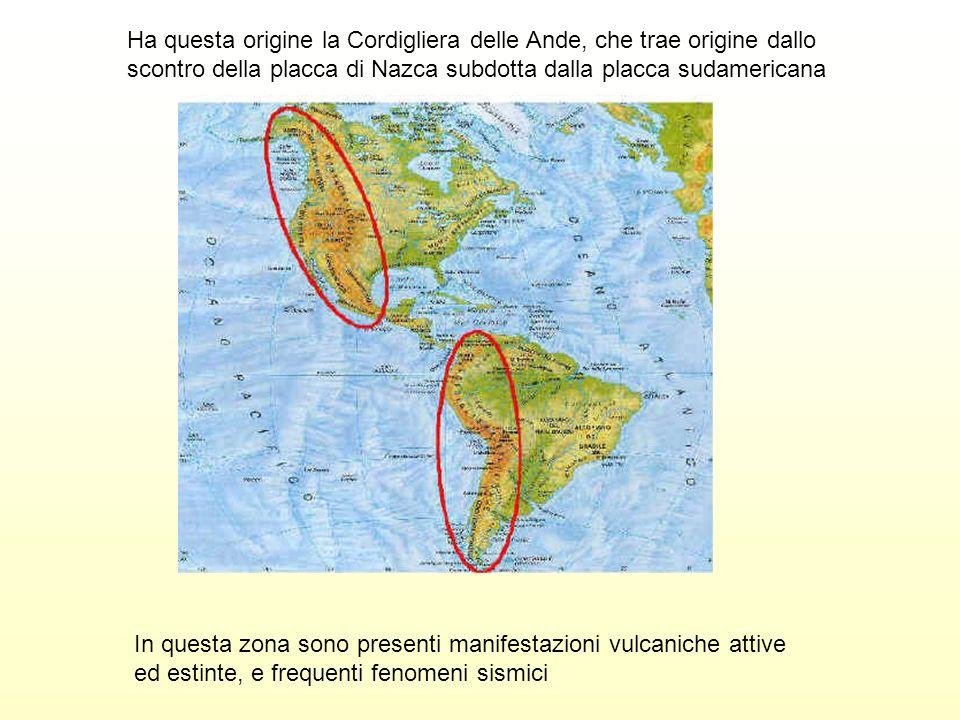. Ha questa origine la Cordigliera delle Ande, che trae origine dallo scontro della placca di Nazca subdotta dalla placca sudamericana In questa zona