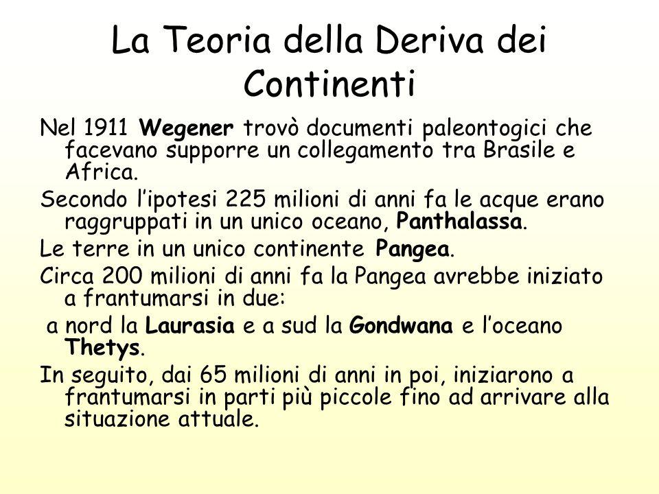 La Teoria della Deriva dei Continenti Nel 1911 Wegener trovò documenti paleontogici che facevano supporre un collegamento tra Brasile e Africa. Second