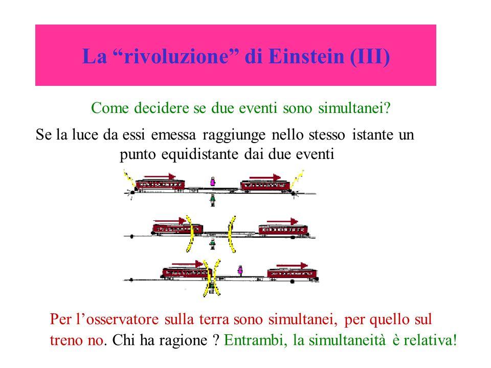 La rivoluzione di Einstein (III) Come decidere se due eventi sono simultanei? Per losservatore sulla terra sono simultanei, per quello sul treno no. C