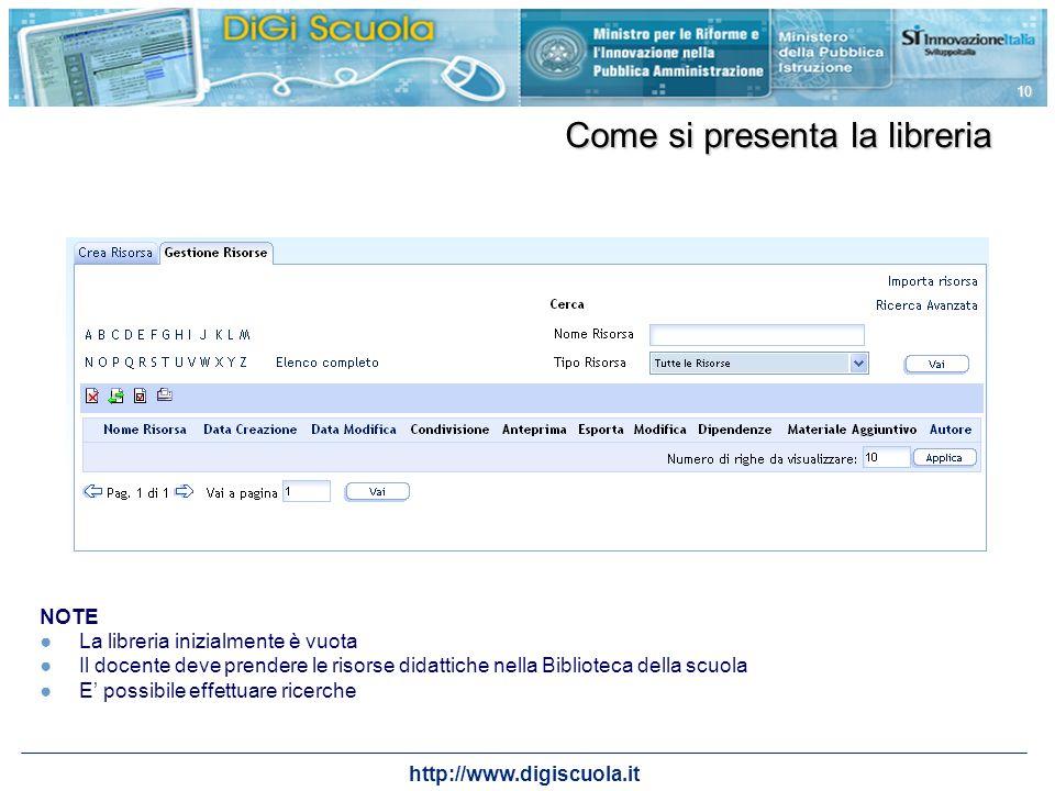 http://www.digiscuola.it 10 Come si presenta la libreria NOTE La libreria inizialmente è vuota Il docente deve prendere le risorse didattiche nella Bi