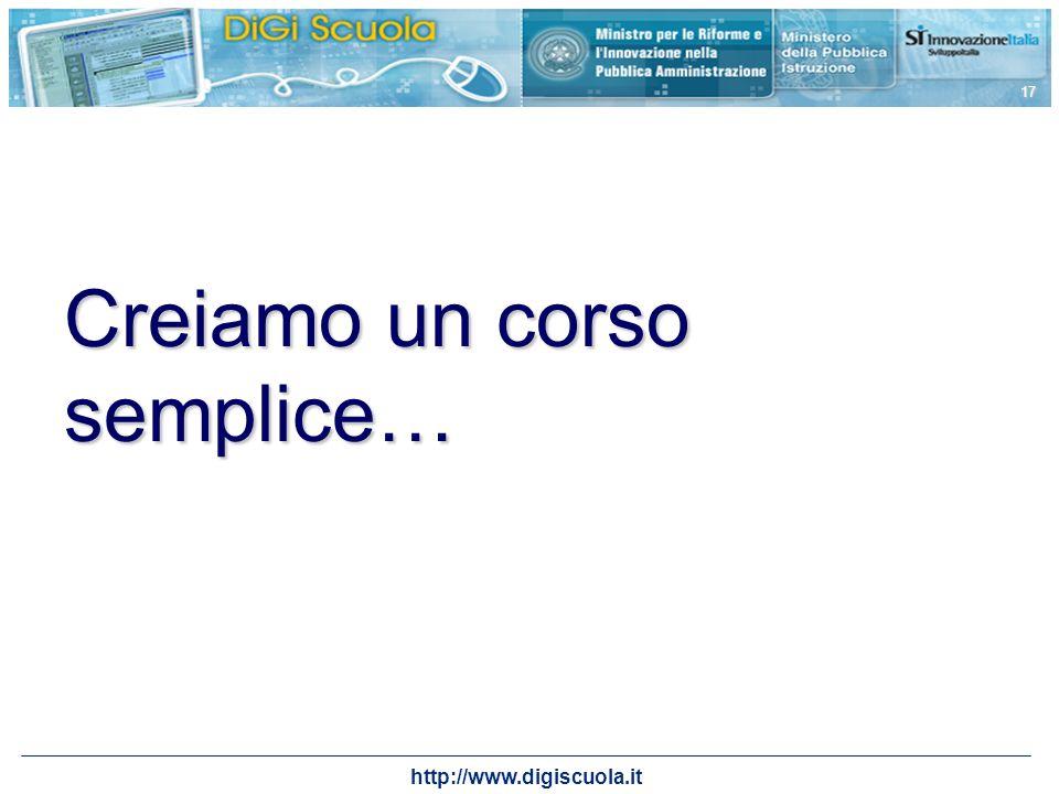http://www.digiscuola.it 17 Creiamo un corso semplice…
