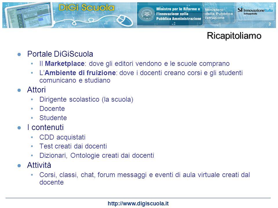 http://www.digiscuola.it 2 Ricapitoliamo Portale DiGiScuola Il Marketplace: dove gli editori vendono e le scuole comprano LAmbiente di fruizione: dove