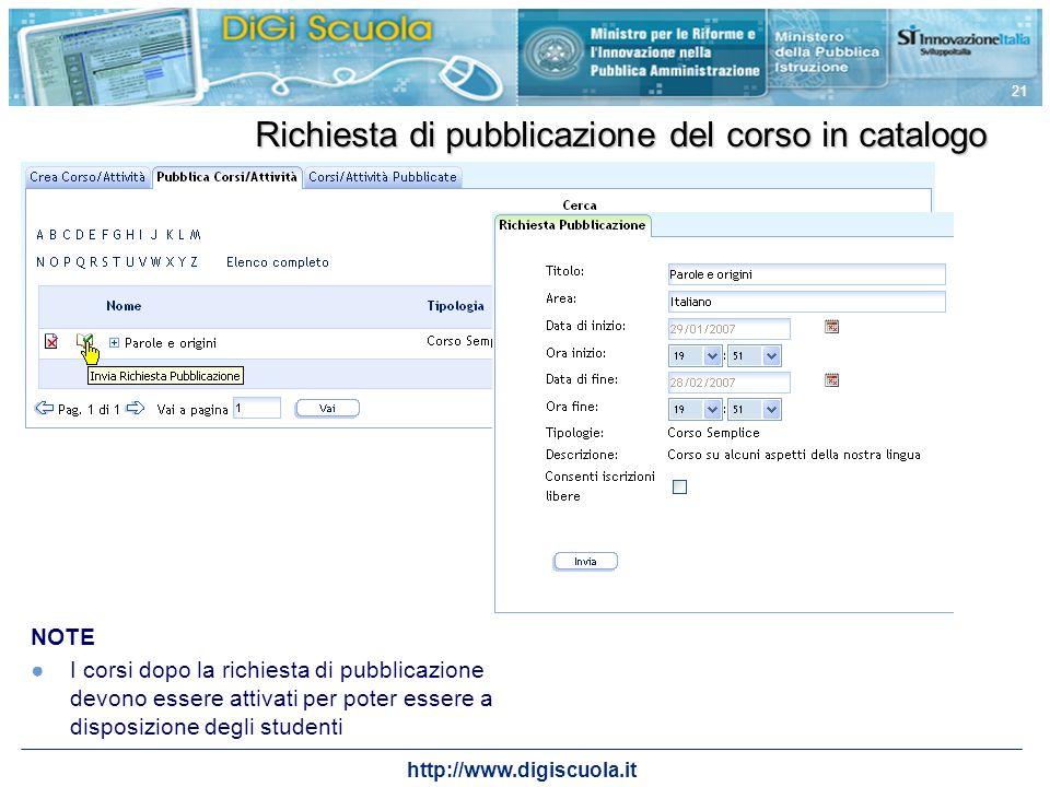 http://www.digiscuola.it 21 Richiesta di pubblicazione del corso in catalogo NOTE I corsi dopo la richiesta di pubblicazione devono essere attivati pe
