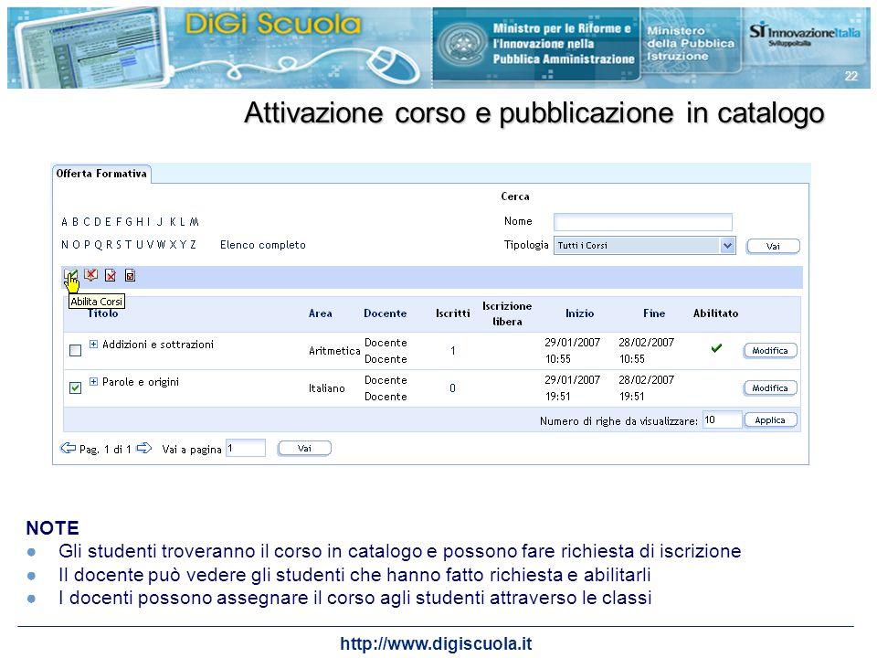 http://www.digiscuola.it 22 Attivazione corso e pubblicazione in catalogo NOTE Gli studenti troveranno il corso in catalogo e possono fare richiesta d