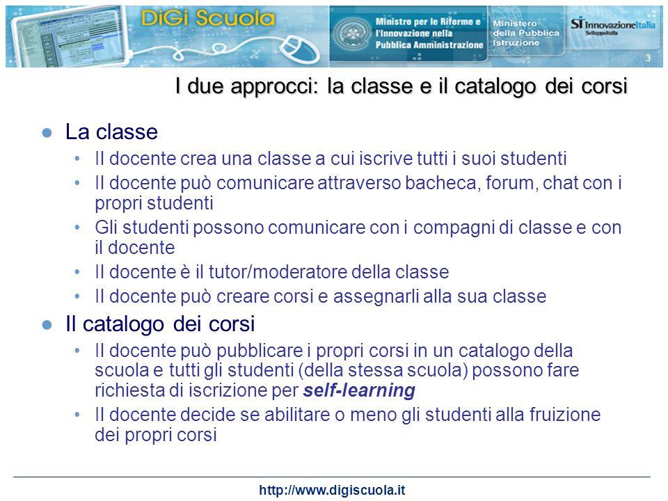 http://www.digiscuola.it 3 I due approcci: la classe e il catalogo dei corsi La classe Il docente crea una classe a cui iscrive tutti i suoi studenti