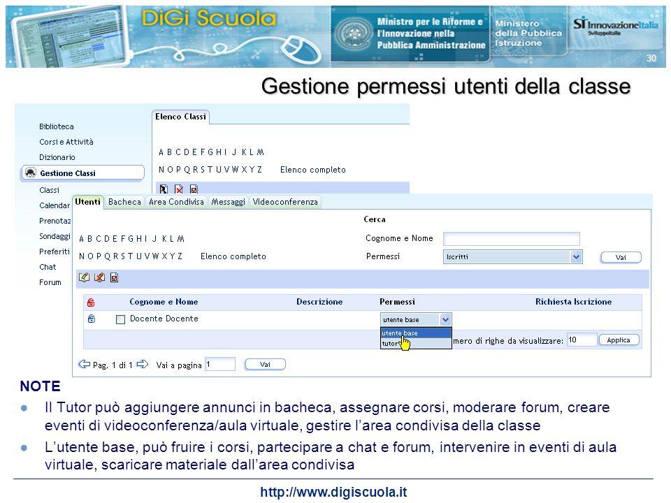 http://www.digiscuola.it 30 Gestione permessi utenti della classe NOTE Il Tutor può aggiungere annunci in bacheca, assegnare corsi, moderare forum, cr