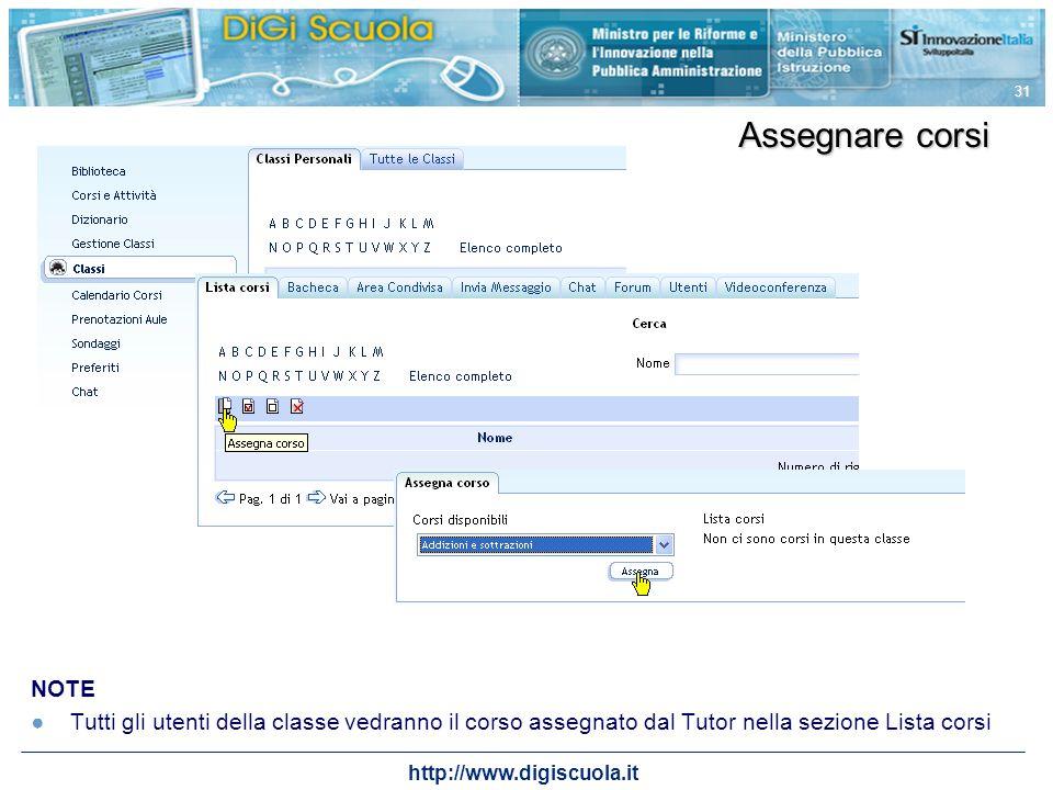 http://www.digiscuola.it 31 Assegnare corsi NOTE Tutti gli utenti della classe vedranno il corso assegnato dal Tutor nella sezione Lista corsi