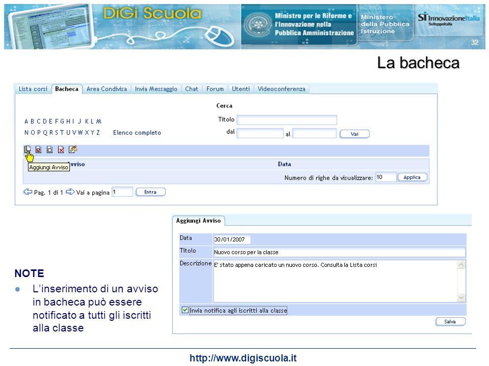 http://www.digiscuola.it 32 La bacheca NOTE Linserimento di un avviso in bacheca può essere notificato a tutti gli iscritti alla classe