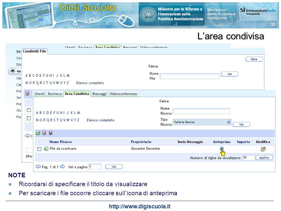 http://www.digiscuola.it 33 Larea condivisa NOTE Ricordarsi di specificare il titolo da visualizzare Per scaricare i file occorre cliccare sullicona d
