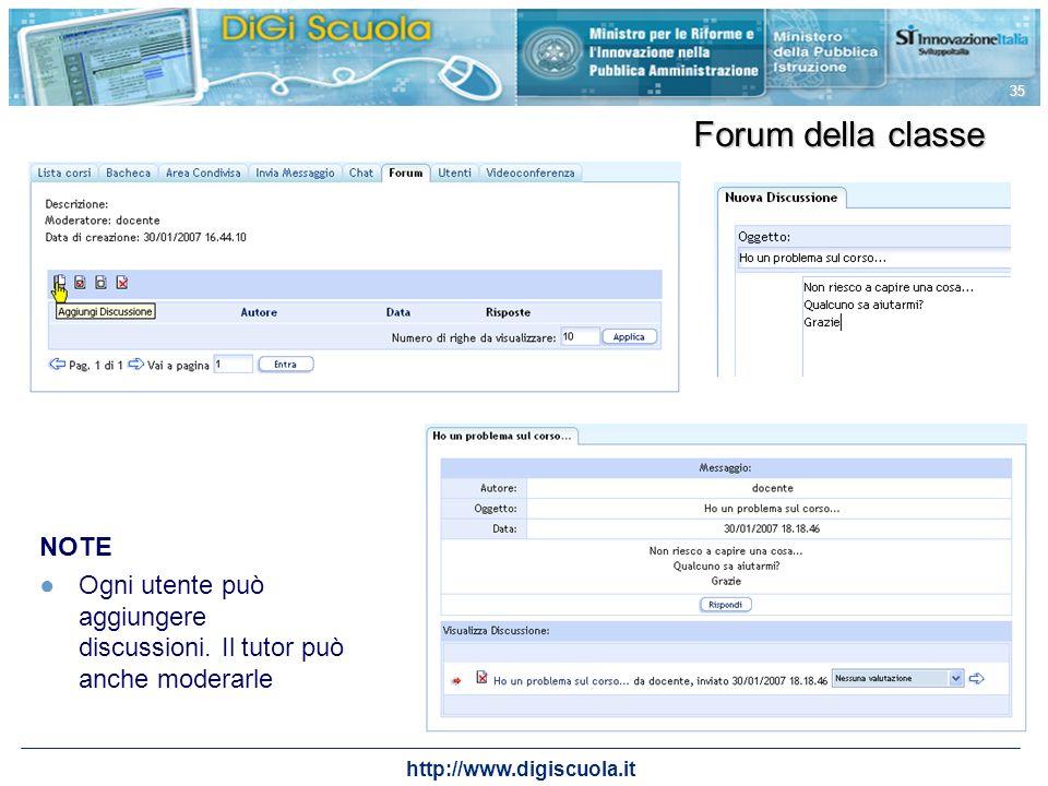http://www.digiscuola.it 35 Forum della classe NOTE Ogni utente può aggiungere discussioni. Il tutor può anche moderarle