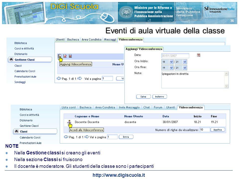 http://www.digiscuola.it 36 Eventi di aula virtuale della classe NOTE Nella Gestione classi si creano gli eventi Nella sezione Classi si fruiscono Il