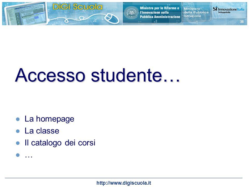 http://www.digiscuola.it 38 Accesso studente… La homepage La classe Il catalogo dei corsi …