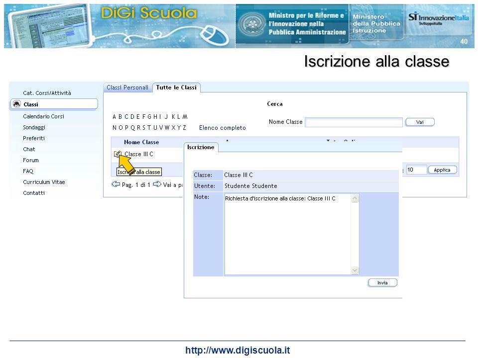http://www.digiscuola.it 40 Iscrizione alla classe