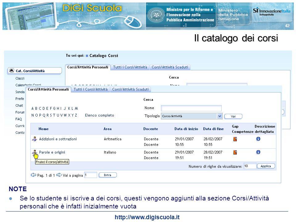 http://www.digiscuola.it 42 Il catalogo dei corsi NOTE Se lo studente si iscrive a dei corsi, questi vengono aggiunti alla sezione Corsi/Attività pers